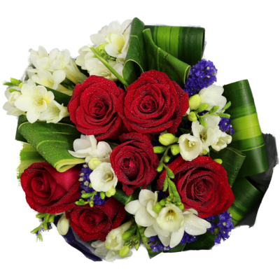 Bouquet of Half Dozen Roses mixed with White Flowers