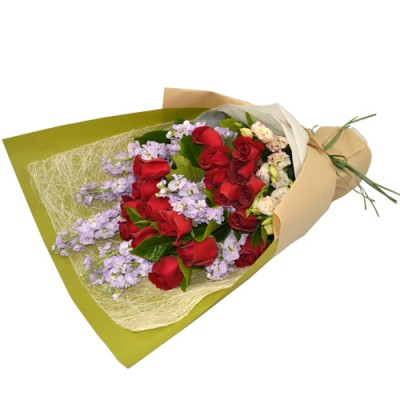 Valentines Day 18pcs Roses Bouquet with Purple Flowers