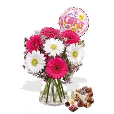 Gerbera Package , Chocolate Box and Its a Girl Helium Balloon