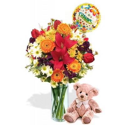 Mixed bouquet package , Medium teddy Bear and Helium Balloon